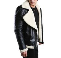 Men's 100% Genuine sheep skin motorcycle biker leather jacket & coat
