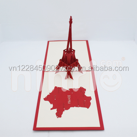 Eiffel tower 3d card pop-up card