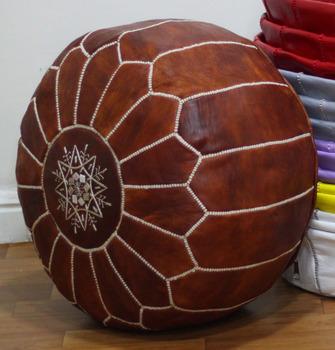 moroccan leather poufs pouffe puffar - Leather Pouf