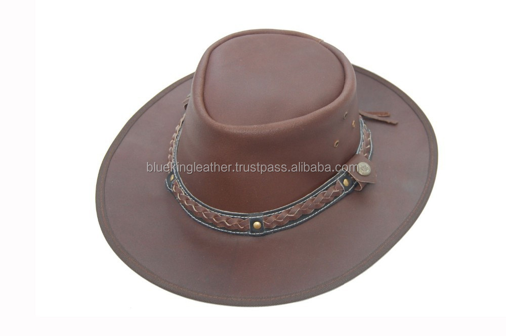 3bec31e49b1 Brand New Leather Australian Style Country Bush Hat With Chin Strap Brown