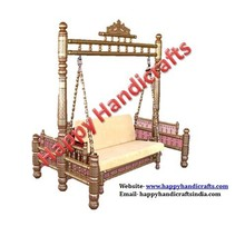 Indian carved home indoor wooden swing jhula, jula