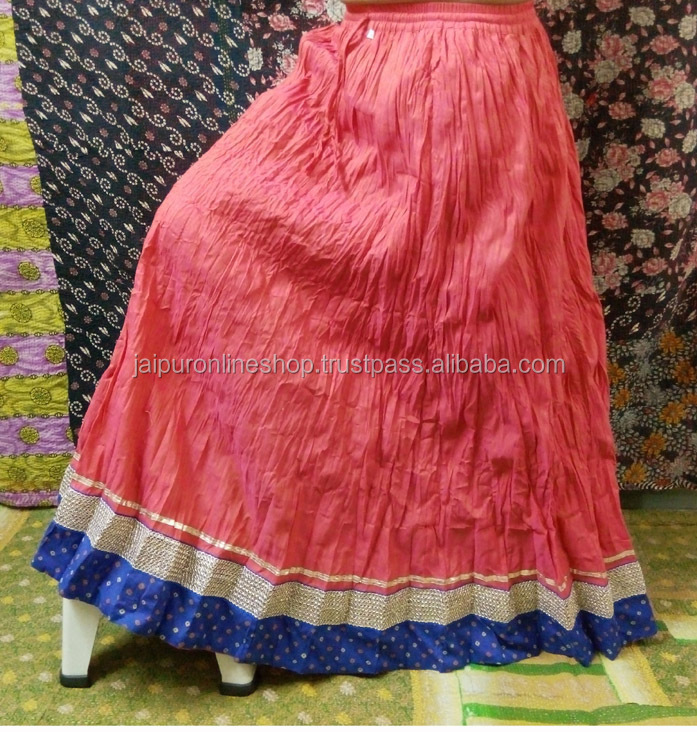 5a0133b40 Indian Girls Occasion Party Wear Designer Cotton Long Skirt Crinkle Design  With Brocade Lace Border