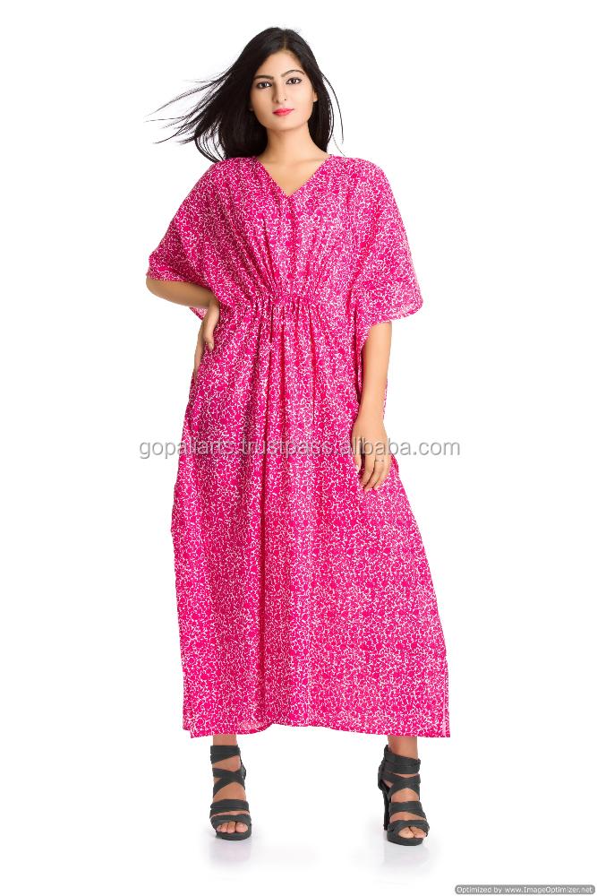 Indian 100 Cotton Pink Floral Printed Women Kaftan Tunic Dress Plus