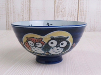 Ramen bowl with the owls S12.5cm/M14.5cm Japanese Porcelain mino traditional pottery