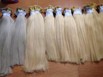 60,#613,#60 Ash Dark Color Bulk Hair Human Hair Extension