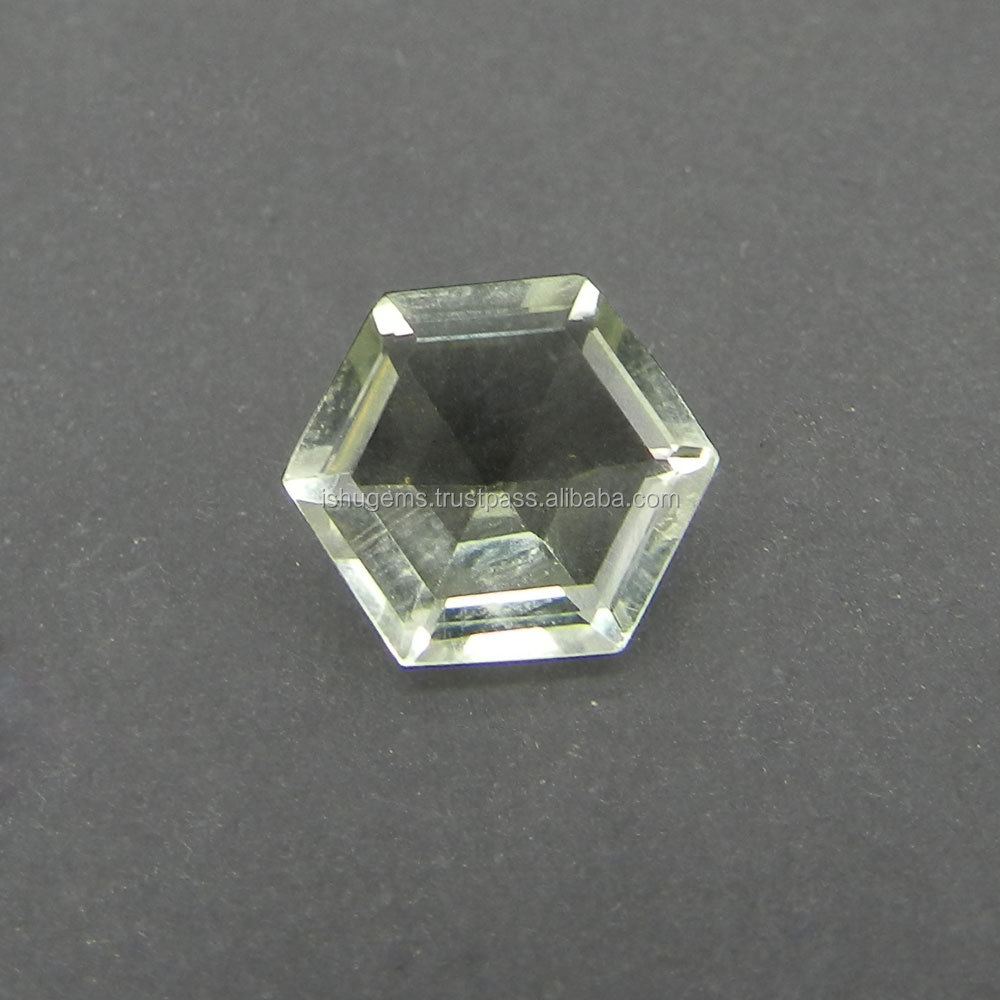 Green Amethyst 3.7 Cts Hexagon Cut 10x11mm semi precious gemstones for jewelry IG2622
