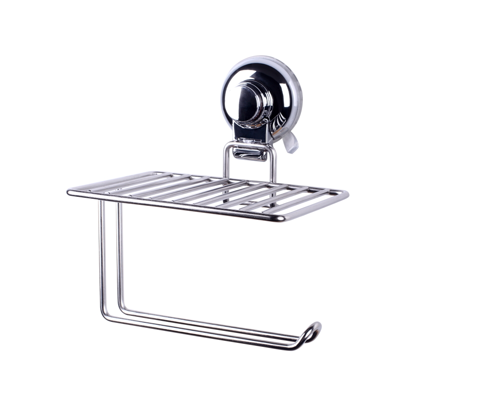 Powerful Vacuum Suction Cup Toilet Paper Holder with Cellphone Shelf for Bathroom Organizer