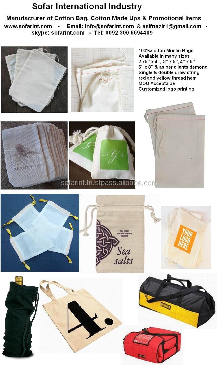Wholesale 100% Cotton Drawstring bags/ Jewelry Pouch