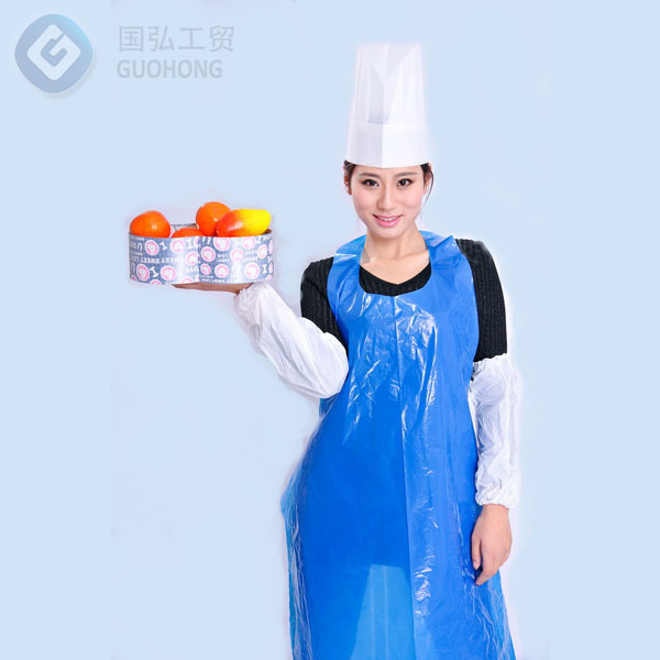 China Professional Factory Pe Waterproof Disposable Blue Apron For ...