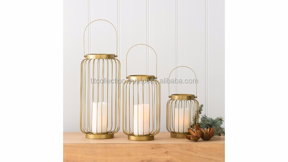 Brass Lantern Set Wire Hurricane Candle Holder With Handle - Gold ...