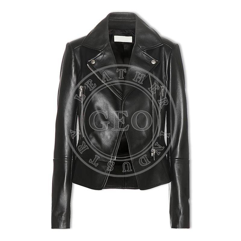 Custom Design Garment Washed Women Leather Jackets