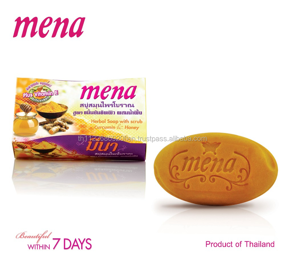 Mena Herbal Soap with scrub Curcumin & Honey