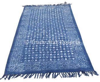 Indian Indigo Carpet Runner Rugs Carpets Hand Block Print Living Room Cotton Rag Rug