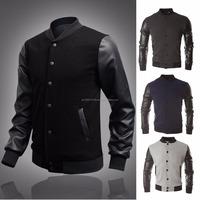 2016 New-Men-Coat-Varsity jacket-High quality jacket for College/Baseball wear -Jacket-PU-Leather-Sleeve-Outwear