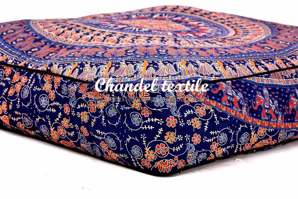 "35"" Mandala Large Floor Pillow Case elephant Square Pet Dog Bed Cushion Cover bohemian floor cushion boho seating Ethnic Decor"