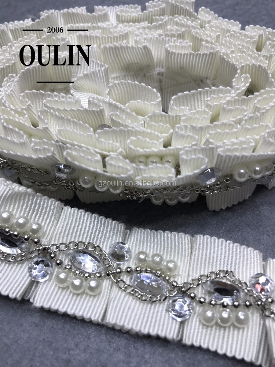 Pearl lace cheap price 2017 new coming model pearl acrylic lace chain lace for clothing