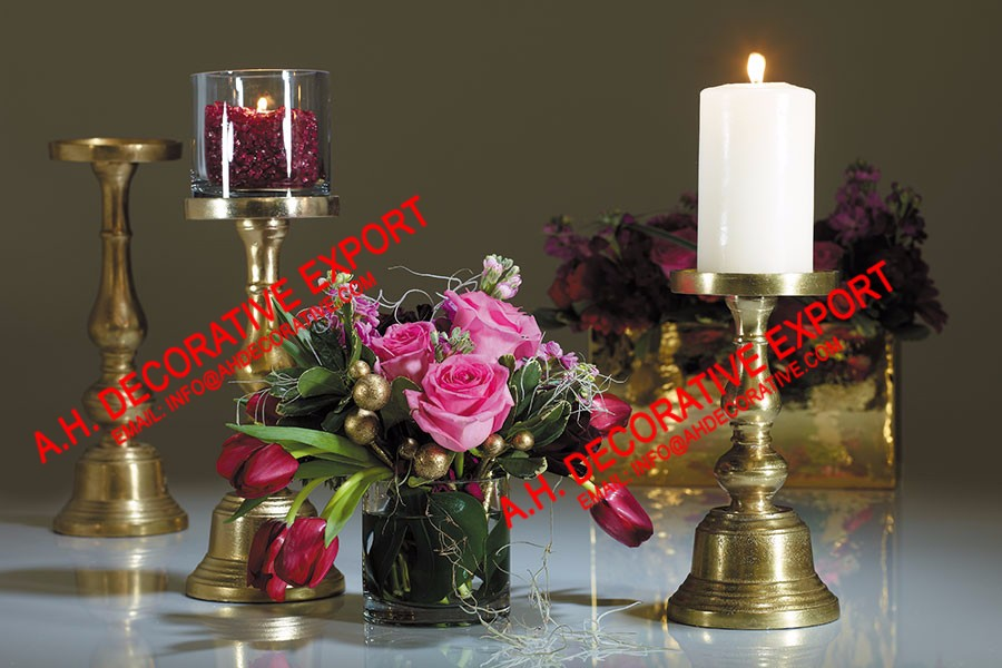 Gold Pillar Candlestick Holder