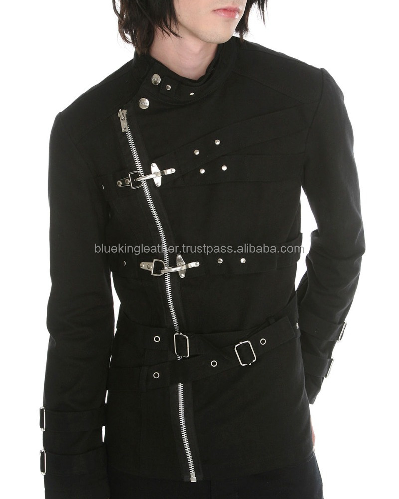Mens Bondage Jacket Black Goth Punk Fire Hook Strait Strap