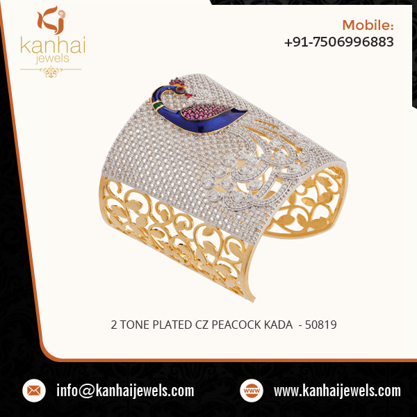 Best Selling 2 Tone Plated CZ Peacock Kada