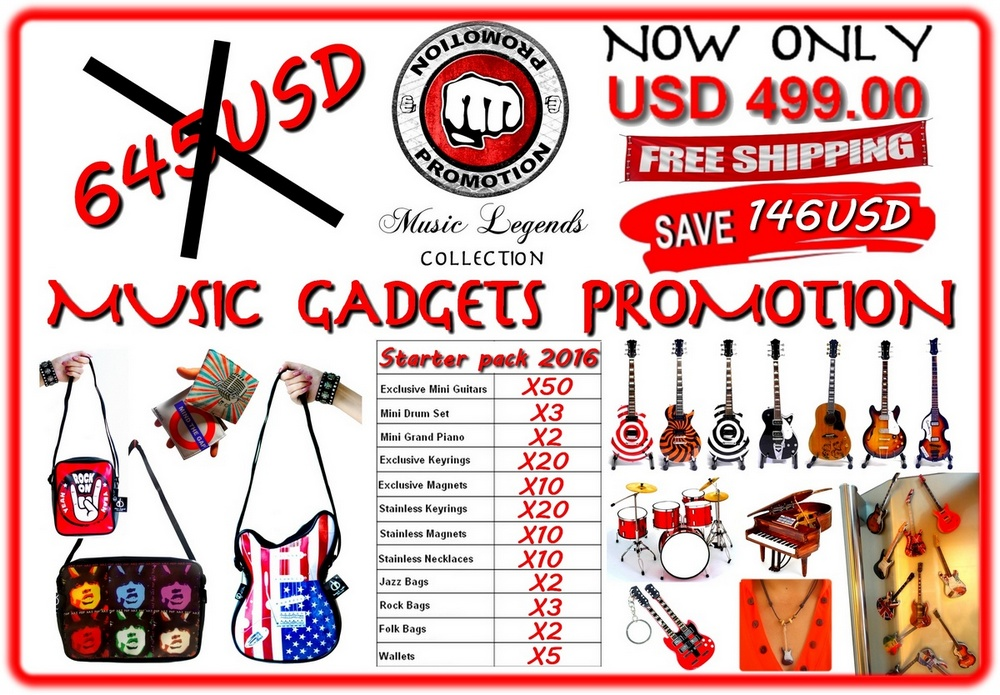 Music Gadgets starter pack, mini guitar, guitar bags, fridge magnet, mini piano, mini drums set