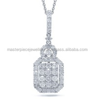 TV Channel!! 1.16CT 18K White Gold Diamond Pendent Pearl And Diamonds
