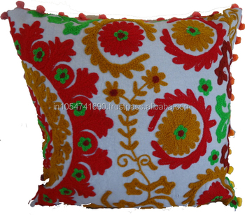 Online Sale Indian Suzani Cushion Cover Boho Style Embroidery Pom Pom Lace Cushions Throw Pillow Buy Suzani Embroidery Cushion Cover Product On