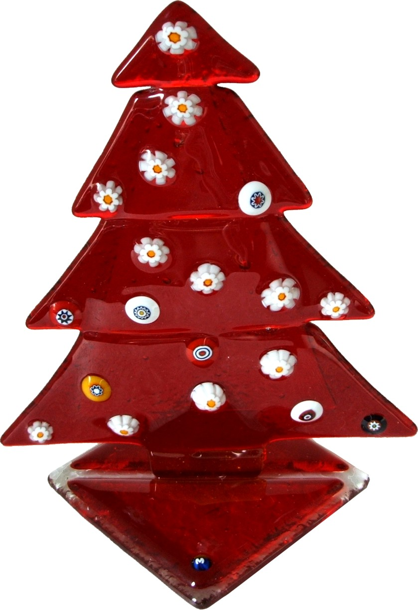 Red Christmas Tree Small Murano Gl With Murrina