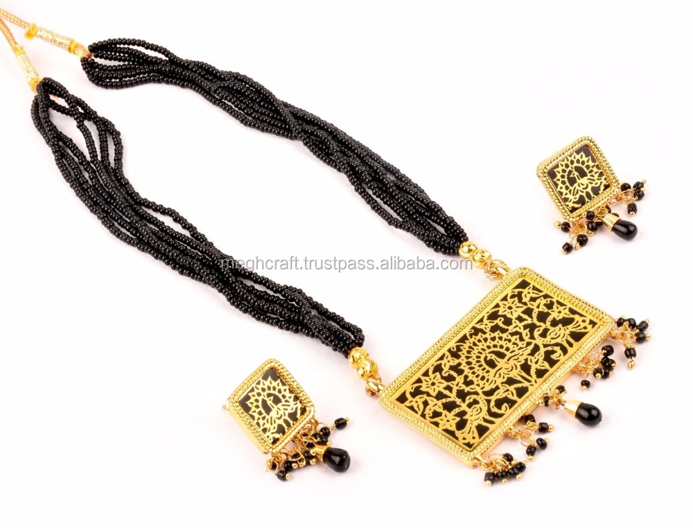 Indian Fusion art Necklace set-Bollywood Fashion wear Indian Jewellery-Thewa Necklace set-Wholesale Gold Plated Thewa Jewellery