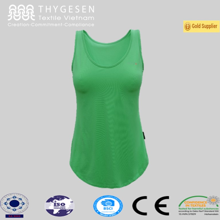 Smooth and flexible 95% siro rayon, 5% spandex women yoga top