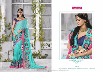 Saree Indigo Georgette With Embroidery With Soft Net With Embroidery