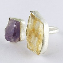 Xmas Holidays Offer !! Citrine_Amethyst 925 Sterling Silver Ring, Gemstone Rings, Indian Fashion Jewelry