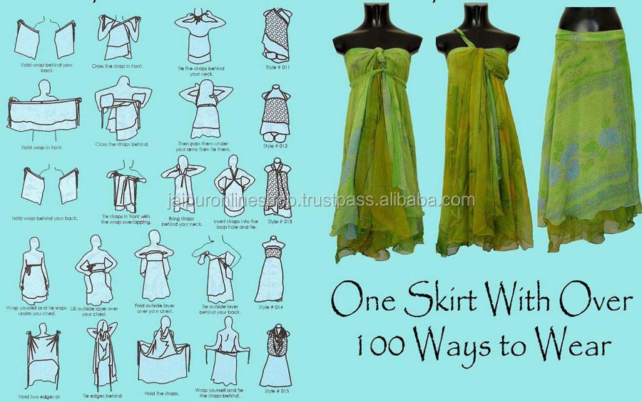 Vintage Silk Wrap Skirts View 2 Layer Sari Silk Wrap