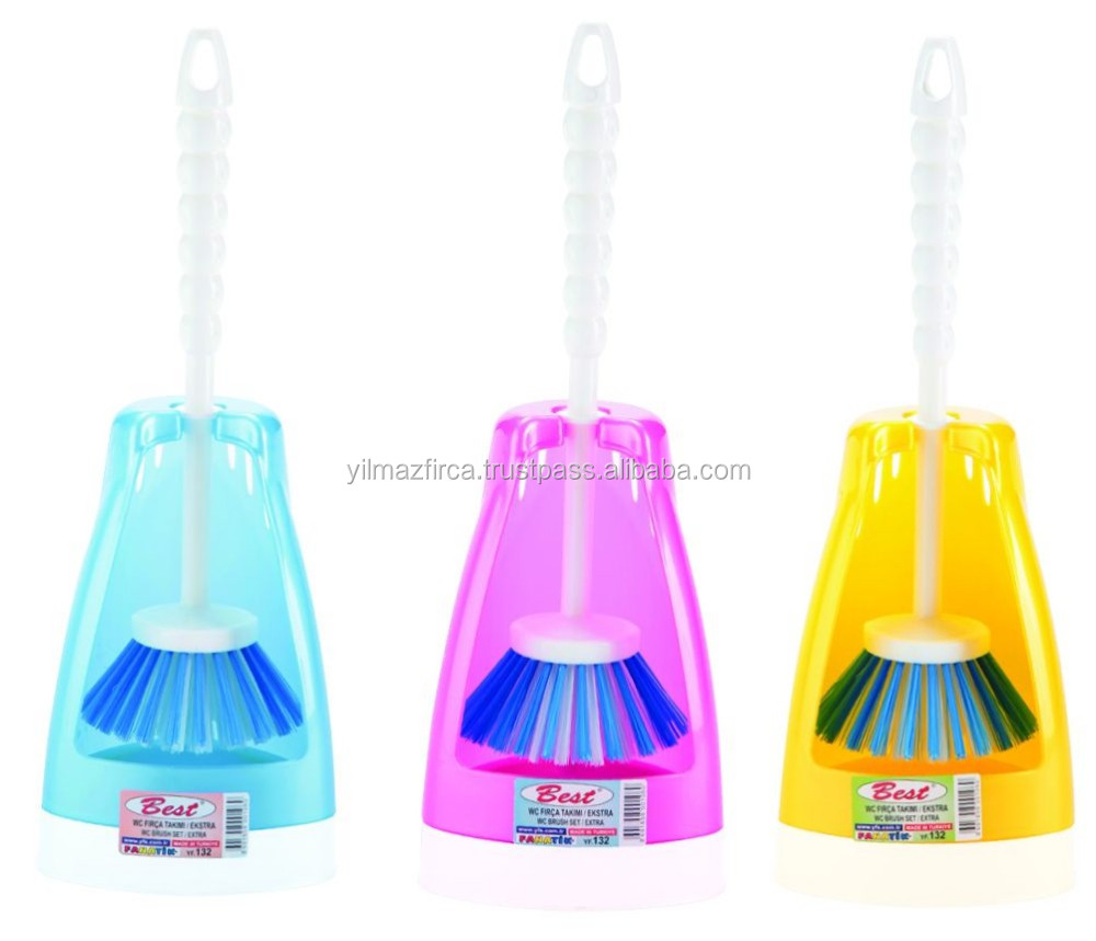 Plastic and Colourful Toilet Brush Set with Holder