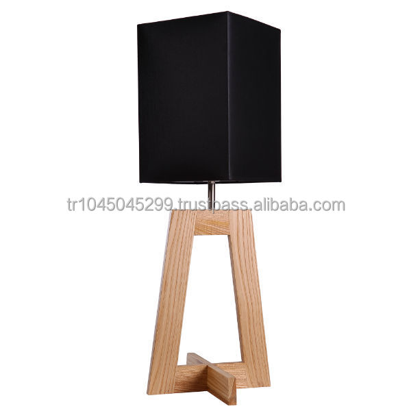 Angular Wood Table Lamp Handcrafted Framed Design Handmade Wooden From Natural Solid Hard Base Modern
