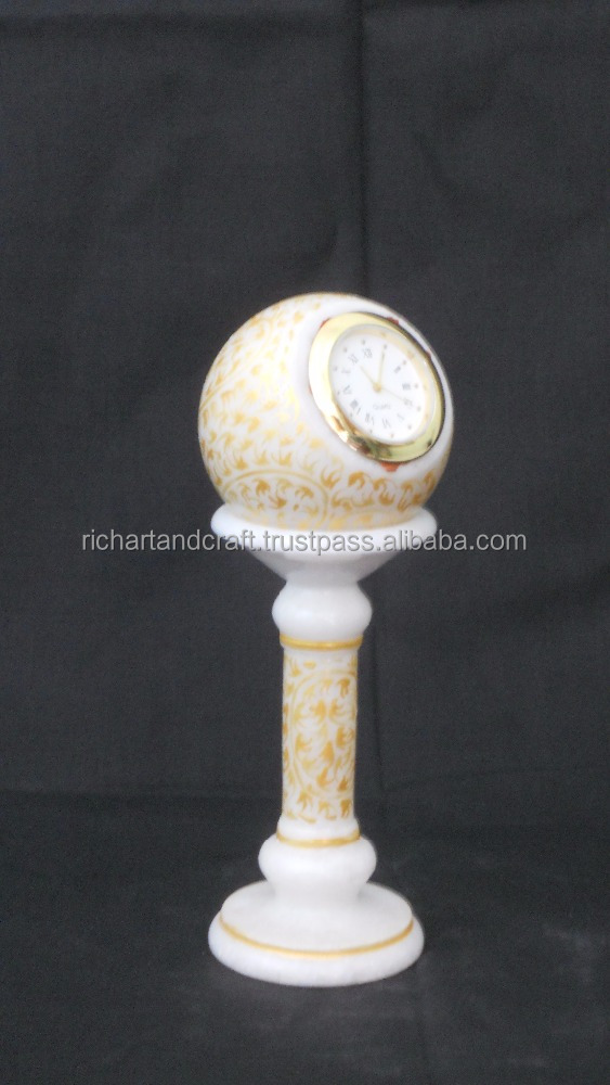 India Marble Piller Watch Clock Handicraft Painting Handmade Jaipur Rajasthan wedding gift