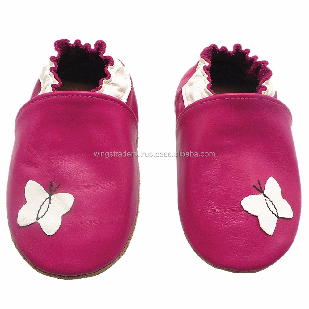 Sheepskin Leather Moccasins with Butterfly,Rose Red First Walker
