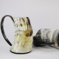 Natural Viking Cup Drinking Horn Tankard,Game of Thrones Horn Beer Mugs, Ox Horn Mugs