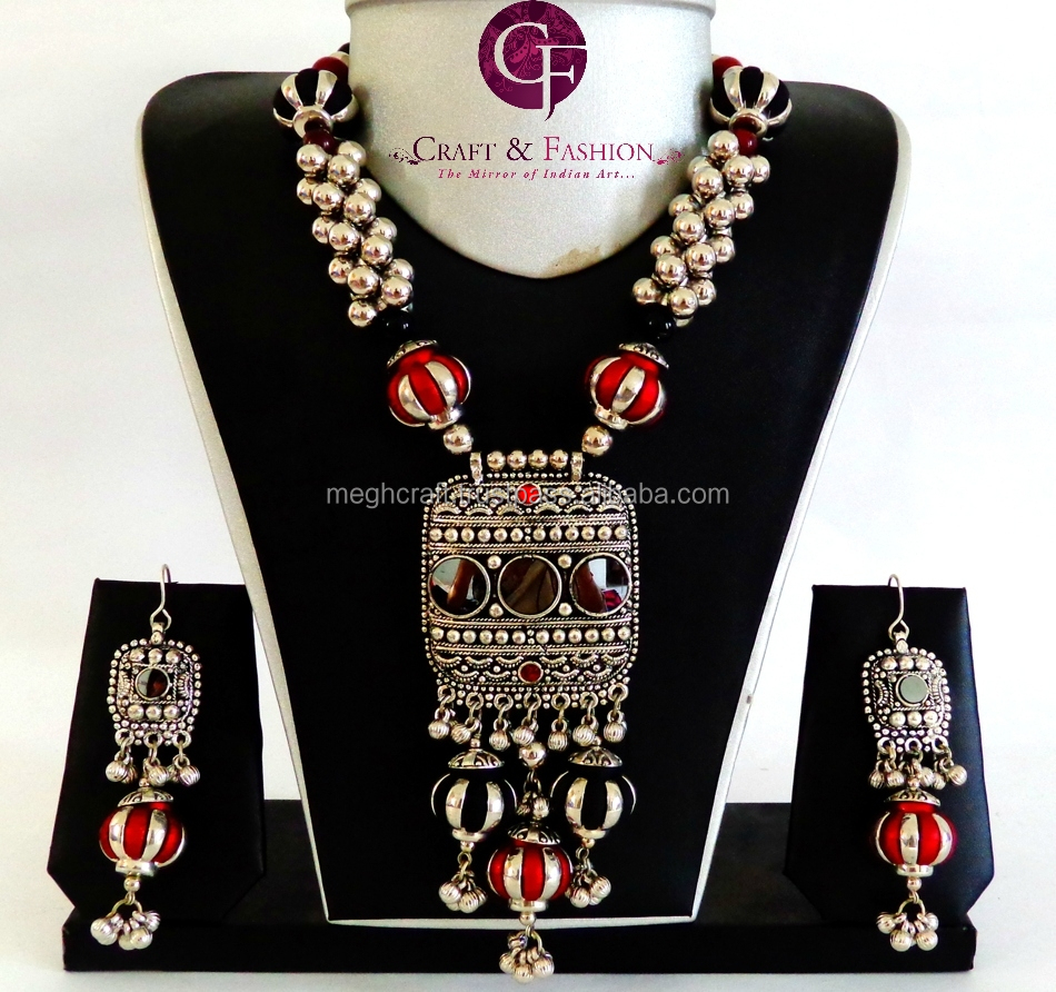neck with and thread geru german grhn black shopping beads online piece silver jewellery blue
