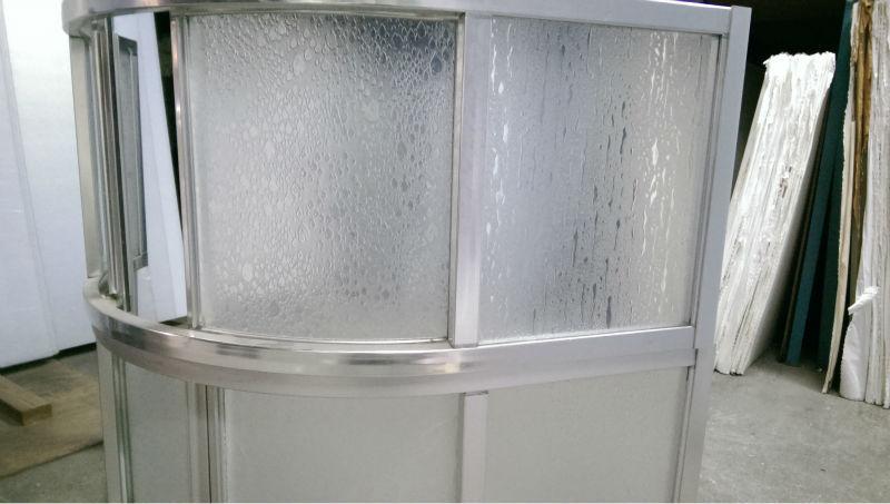 Bubble design plastic glass sheet for 3 panel shower door, View ...