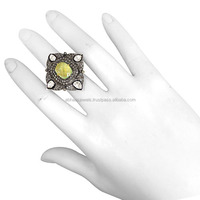 925 Sterling Silver Rose Cut Pave Diamond Vintage Ring Lemon Coach Gemstone Prong Setting Jewelry