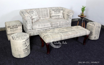 Newspaper Printed Fabric Stuffed Sofa Set