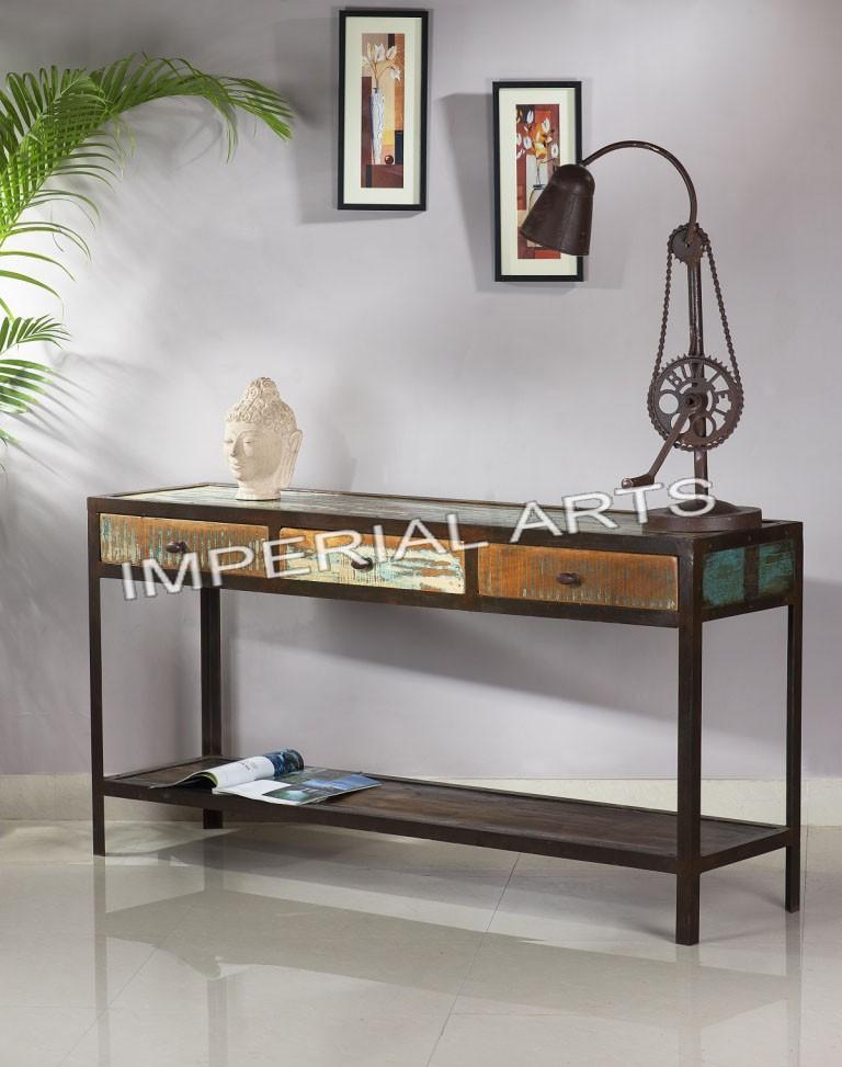 indienne fer et recyclage table de console de bois avec 3. Black Bedroom Furniture Sets. Home Design Ideas