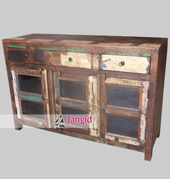 Recycled Wood Storage Gl Door Sideboard Indian Cabinet Furniture