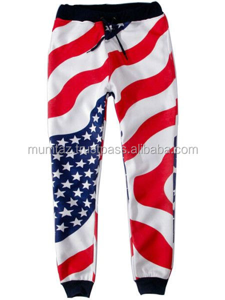 Men's American Flag USA Workout Pants Sublimation Trousers/New Custom Design Pent Casual Trouser