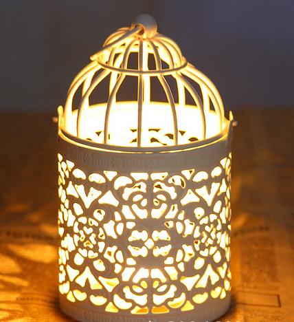European metal white decorative bird cage candle holder