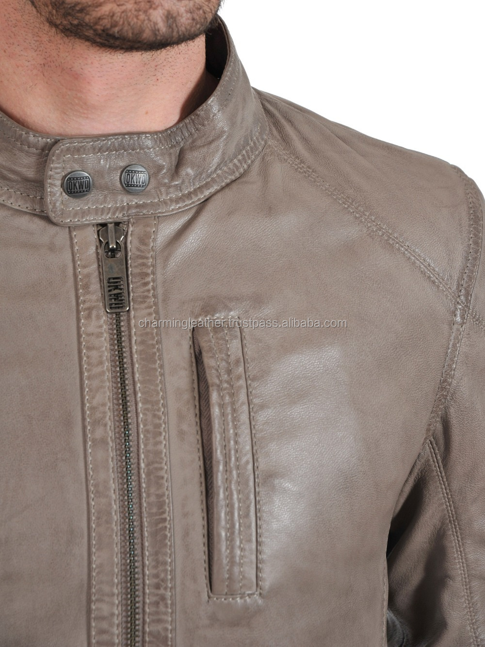 Stylish Collar Short Leather Jacket Mens 2015 New Style High Quality Made