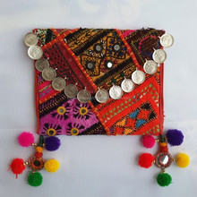 Trendy Gorgeous New Look Vintage Banjara Handmade Embroidered Colorful Clutch with tassels beaded pom traditional embroidery