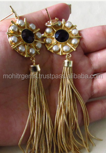 Round Amethyst Cut Pearl Tassel Gold Plated Earring