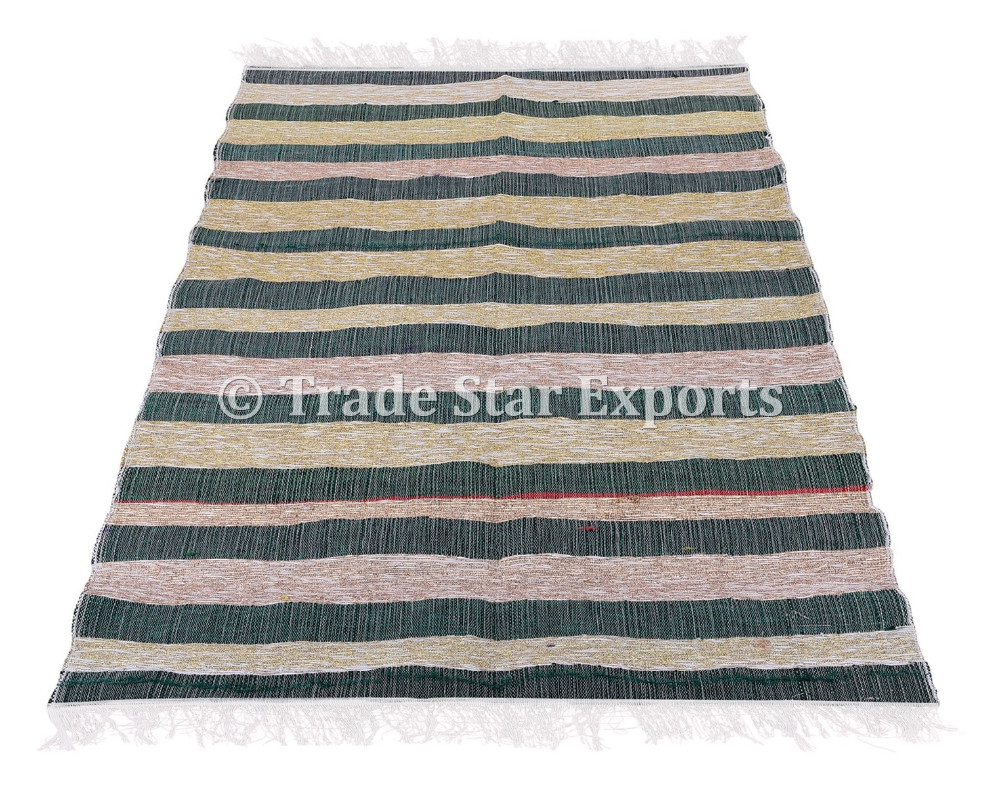 Indian Ethnic Large Area Rug Handloomed Reversible Flickenteppich Läufer Bodenmatte 4X6 Chindi Durrie