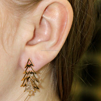 18k Solid Yellow Gold Natural Diamond Jacket Earrings Unique Design Christmas Tree Jewelry